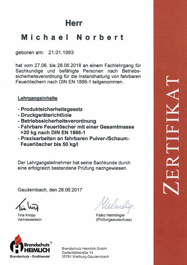Zertifikat-Fahrbare-Feuerloescher