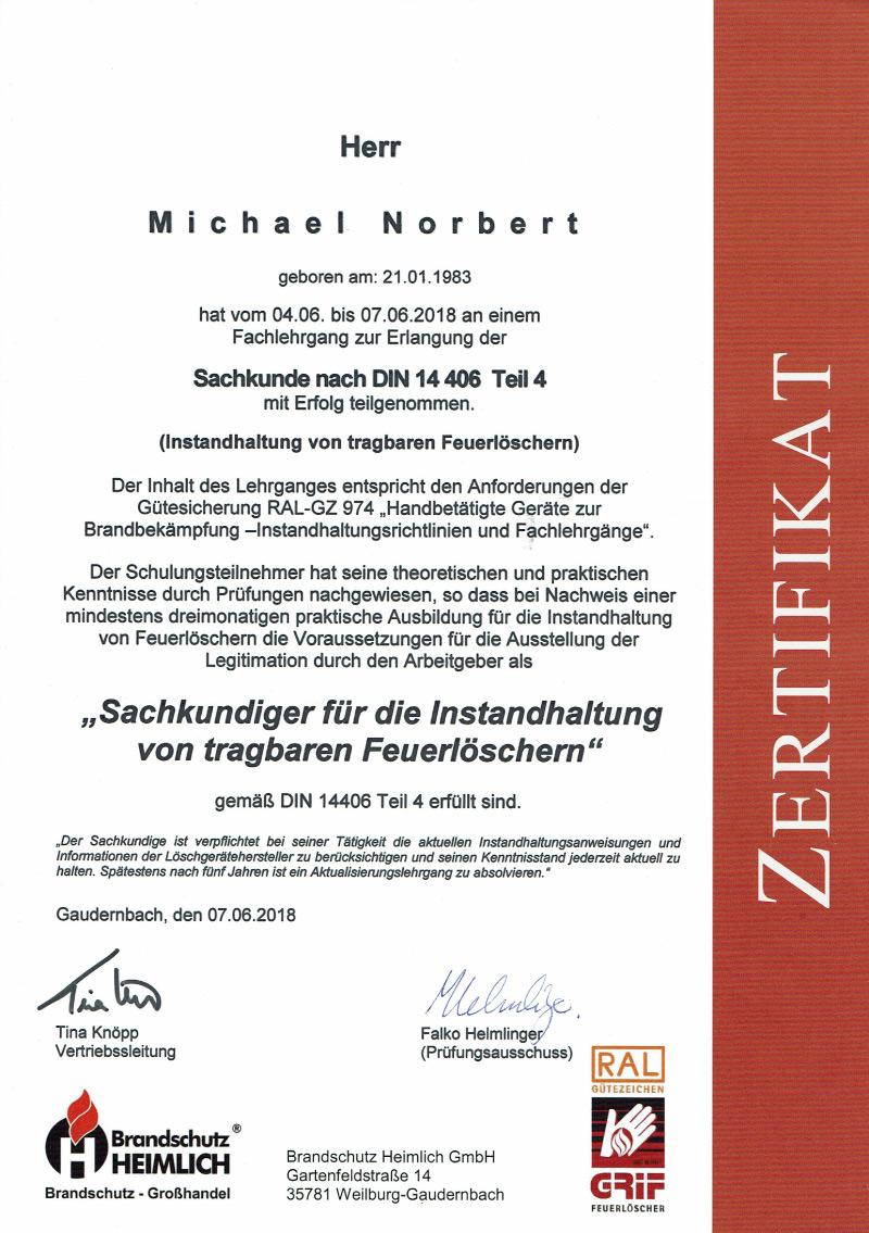 Zertifikat-Feuerloescherwartung