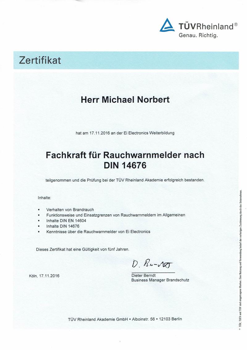 Zertifikat-Rauchwarnmelder